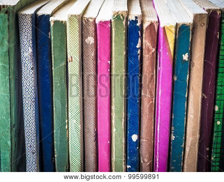 Upright Stack of Old Paperback Books
