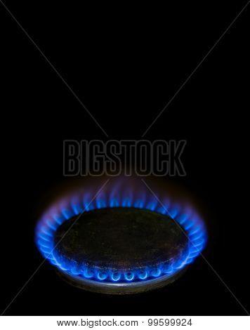 Blue Flame From Vintage Gas Range Burner