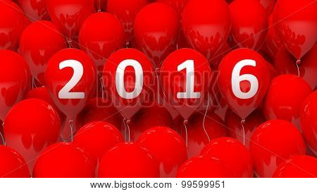 Red balloons background with 2016 text