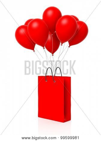 Group of red blank balloons with shopping bag attached isolated