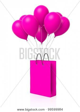 Group of pink blank balloons with shopping bag attached isolated