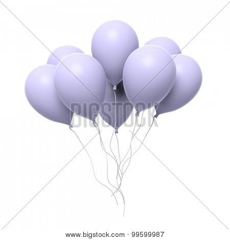Group of blank balloons isolated on white background