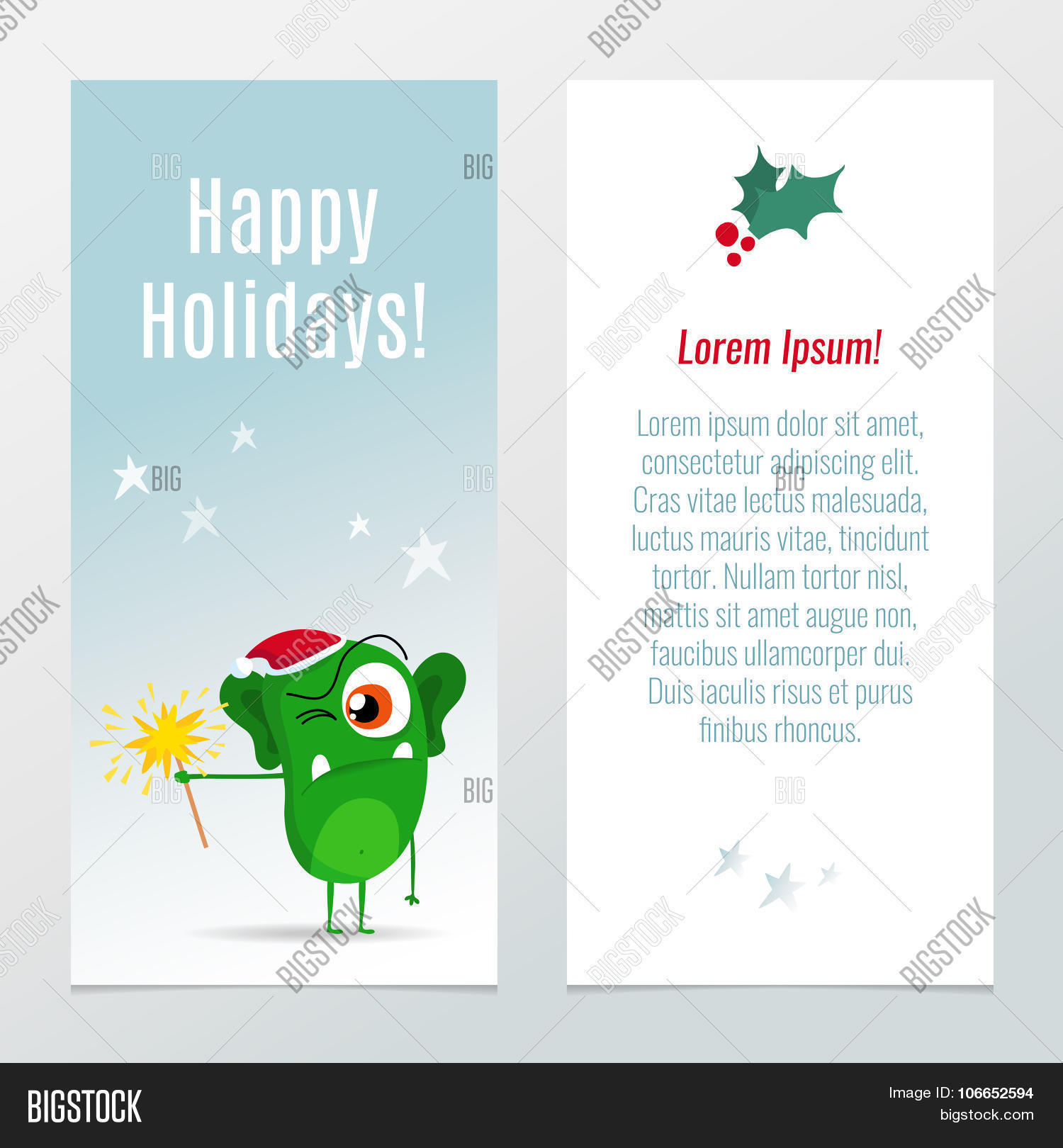 funny christmas and new year holiday banner vertical flyer funny christmas and new year holiday banner vertical flyer template cute cartoon green monster