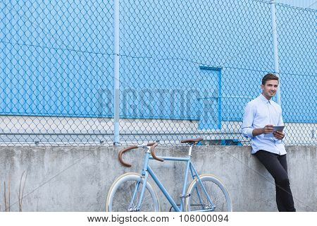 Businessman With Stylish Bike