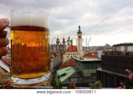 Pint of Czech beer on rooftop terrace in Prague, Czech Republic