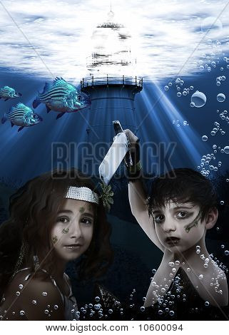 Child Mermaid Underwater