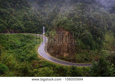 The Road Near Waterfall In Sapa, Vietnam