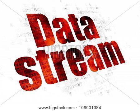 Data concept: Data Stream on Digital background