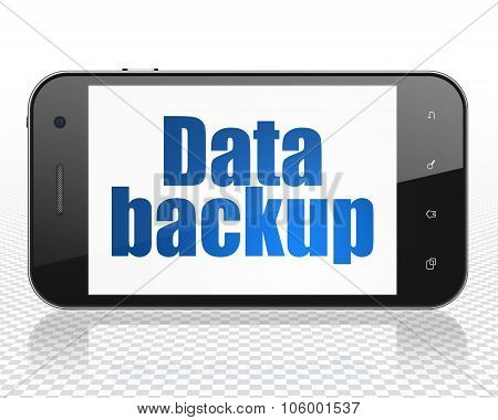 Data concept: Smartphone with Data Backup on display