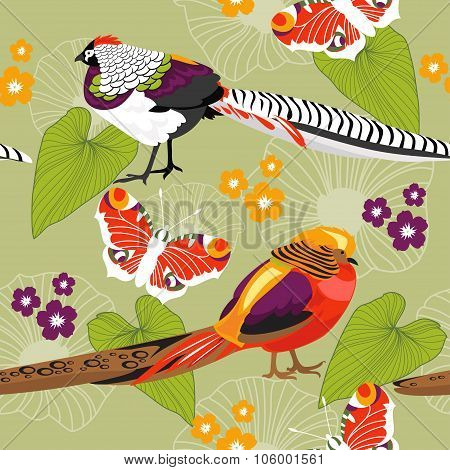 Seamless Floral Texture With Birds