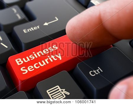 Finger Presses Red Keyboard Button Business Security.