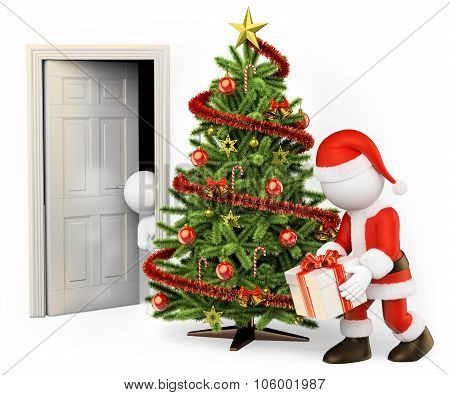 3D White People. Child Spying Santa Claus From His Room