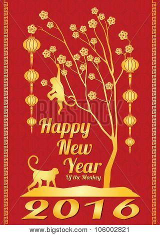Happy new year 2016 card is  lanterns , monkey and tree money