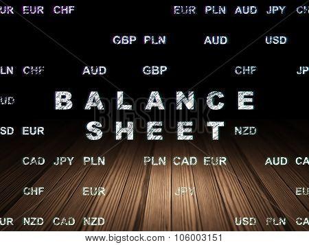Banking concept: Balance Sheet in grunge dark room