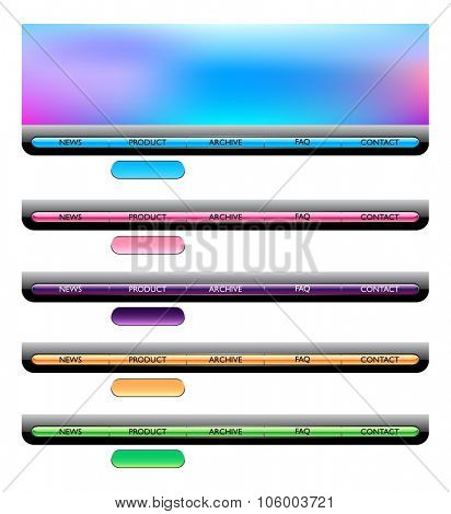 Web navigation templates. Colorful vector illustration