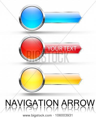 Colorful navigation arrows. Vector set