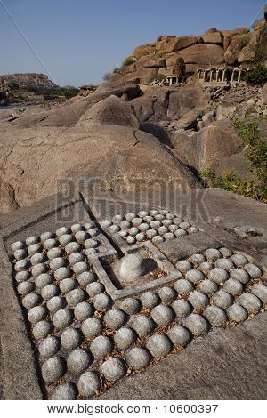 Linga carved into rock, Hampi.