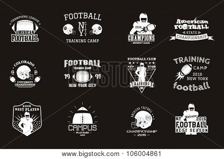 College rugby and american football team, campus, college badges, logos labels insignias in retro st
