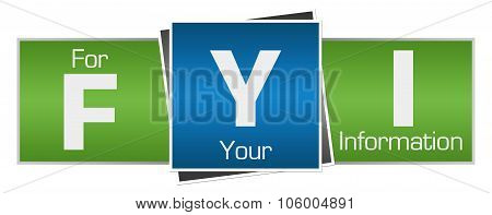 FYI - For Your Information Green Blue Horizontal