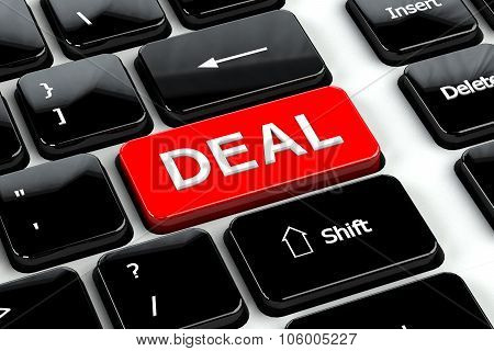 Finance Concept: Deal On Computer Keyboard Background