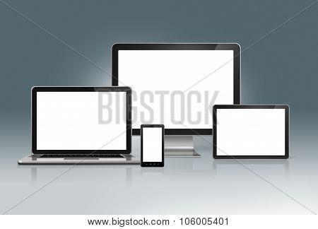 High Tech Computer Set On A Futuristic Grey Background