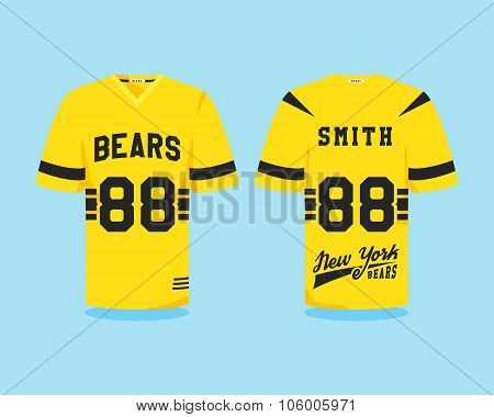 American football uniform, t-shirt design with team logo, label, badge. Can be use in infographics,
