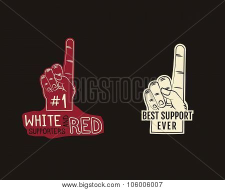 Foam finger supporters american football element - fan finger. College, university team fans symbol