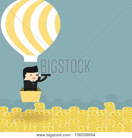 Business situation. Businessman flying in a balloon.
