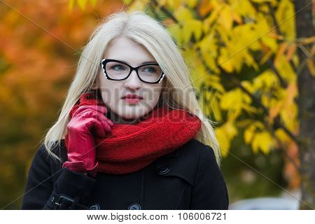 Headshot Portrait Of Young Woman Wearing Cat Eye Glasses And Holding Red Knitted Scarf With One Arm