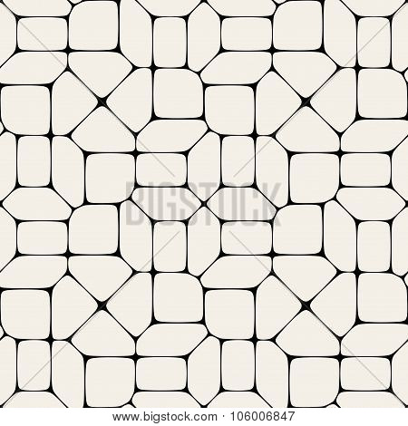 Vector Seamless Black And White Mosaic Pavement Pattern
