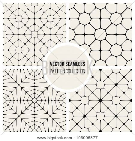 Vector Seamless Black And Whitec Pavement Pattern Collection