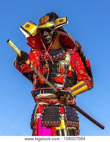 Samurai Warrior Armor Pulls The Sword Attack