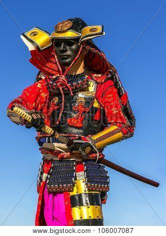 Samurai Warrior Armor Pulls The Sword Attack, Clouse-up
