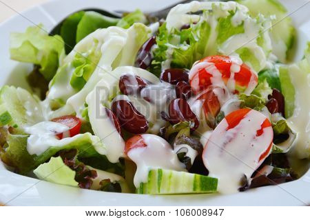 salad dressing mayonnaise cream on dish