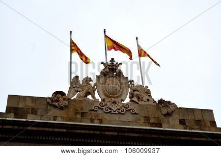 Catalan, Barcelona and Spanish Flags
