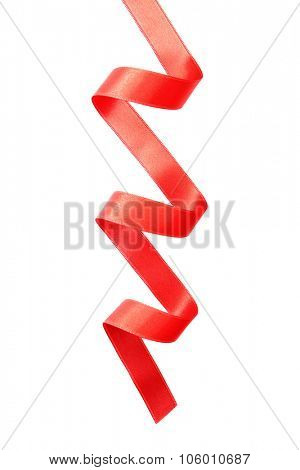 Red curved satin ribbon isolated on white