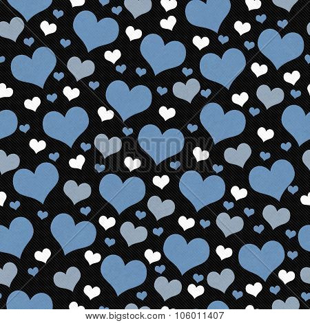 Blue, White And Black Hearts Tile Pattern Repeat Background