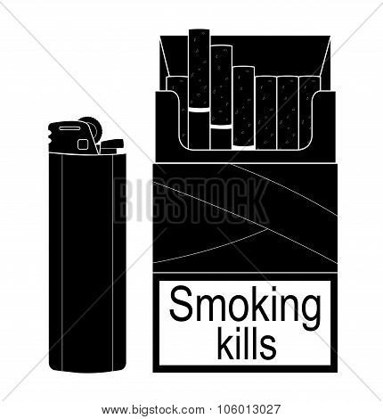 Open cigarettes pack with gas lighter. Black