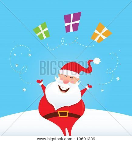 Happy Santa Claus juggling christmas presents