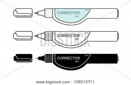Stationery white corrector pen set