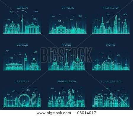 Europe skylines Paris London Barcelona line art
