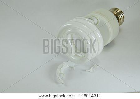 fluorescent lamp crack on white background