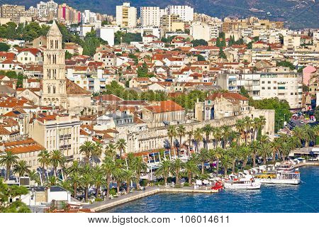 Split Riva Waterfront And Diocletian's Palace View