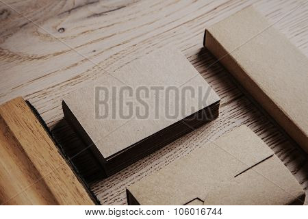 Blank office elements on the wooden background. Horizontal