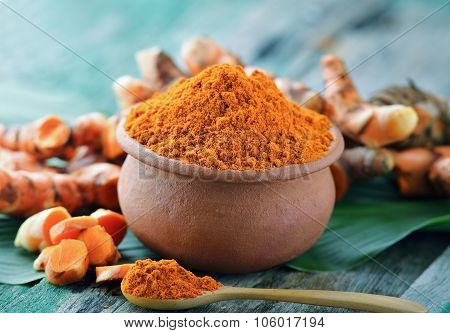Turmeric Powder In Ceramic Bowl On Wooden Background