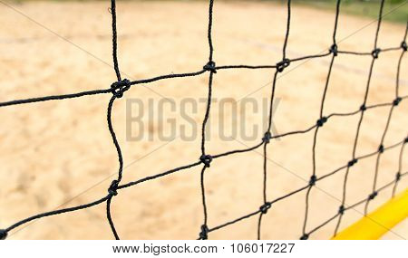 close-up view of a beach volleyball net