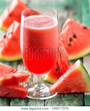 Watermelon Drink In Glasses With Slices Of Watermelon