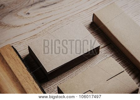 Blank office elements on the wooden background.