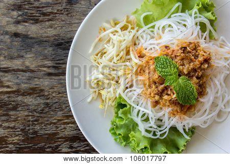 Rice Noodle In Coconut Milk Sauce