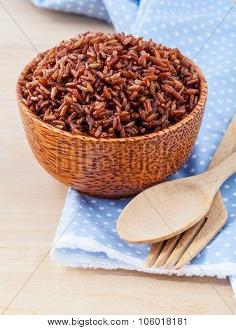 Steamed Whole Grain Traditional Thai Rice Best Rice For Healthy And Clean Food On Wooden Background